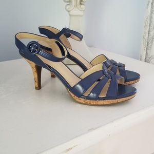 Kelly and Katie Blue & Cork Heels Size 7